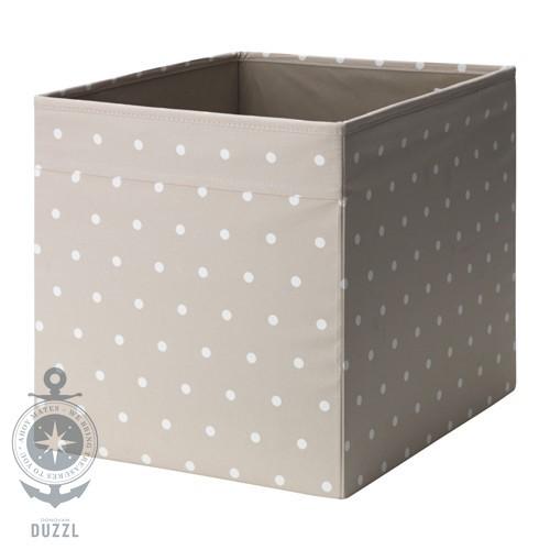 ikea dr na fach beige mit wei en punkten 33x38x33cm box regal einsatz kiste ebay. Black Bedroom Furniture Sets. Home Design Ideas