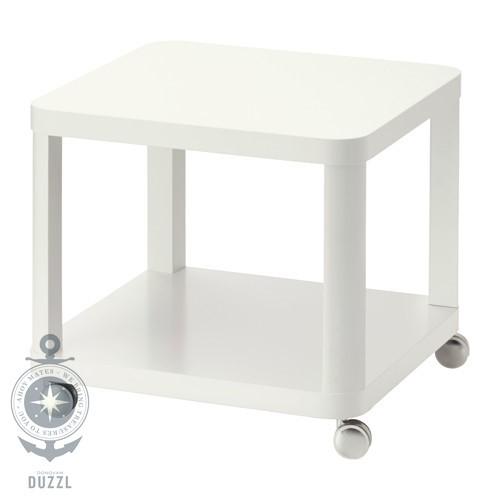 ikea tingby beistelltisch mit rollen in wei 50x50cm couchtisch fernsehtisch ebay. Black Bedroom Furniture Sets. Home Design Ideas