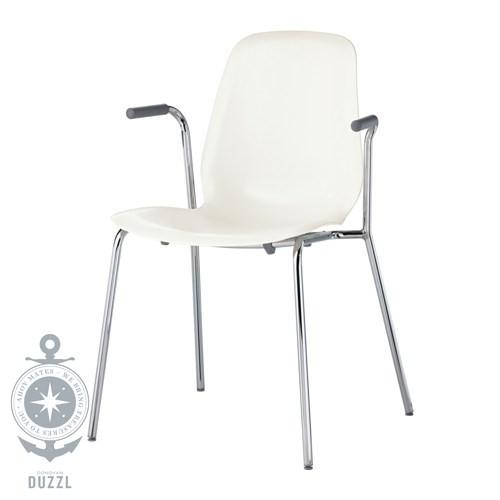 ikea leifarne armlehnstuhl in wei verchromt stapelbar strapazierf hig ebay. Black Bedroom Furniture Sets. Home Design Ideas