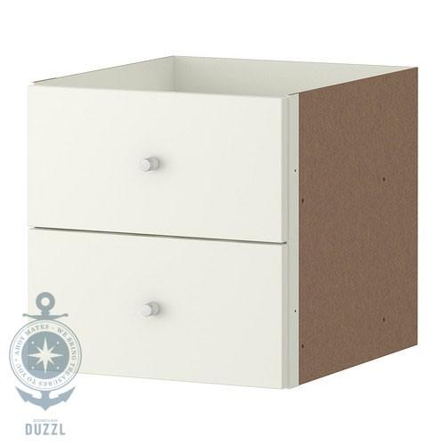 ikea expedit einsatz mit 2 schubladen wei zubeh r f r regal schub einbauset neu ebay. Black Bedroom Furniture Sets. Home Design Ideas