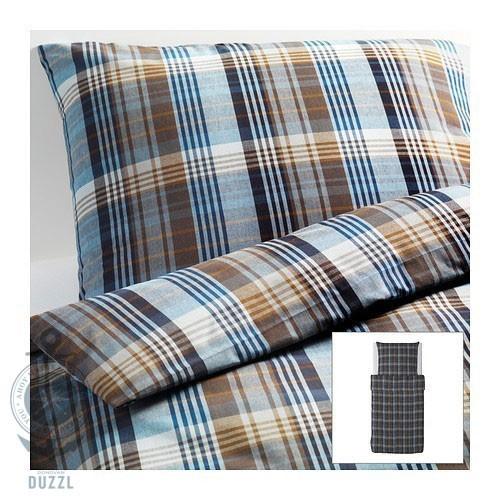 Ikea Bettwäsche Set Benzy Blau Kariert 155x220 Cm Bettbezug 100