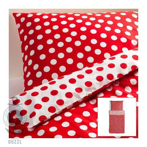 IKEA STENKLÖVER weiß rot gepunktet Bettwäsche 155x220cm Bettbezug ...