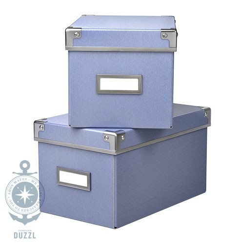 ikea kassett box mit deckel blau schachtel aufbewahrung 16x26x15cm 2er set klein ebay. Black Bedroom Furniture Sets. Home Design Ideas