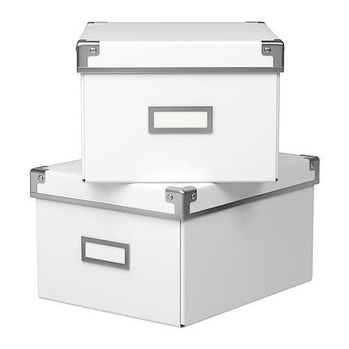 ikea kassett box mit deckel wei aufbewahrungsbox aufbewahrung 21x26x15 2 teile ebay. Black Bedroom Furniture Sets. Home Design Ideas