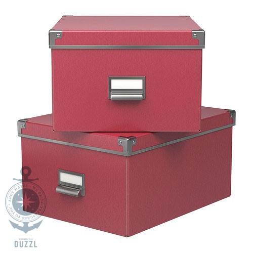 ikea kassett box mit deckel rot aufbewahrungsbox schachtel 27x35x18cm 2er set ebay. Black Bedroom Furniture Sets. Home Design Ideas