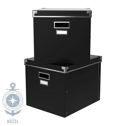 ikea kassett box mit deckel schwarz aufbewahrungsbox aufbewahrung 33x38x30 set ebay. Black Bedroom Furniture Sets. Home Design Ideas