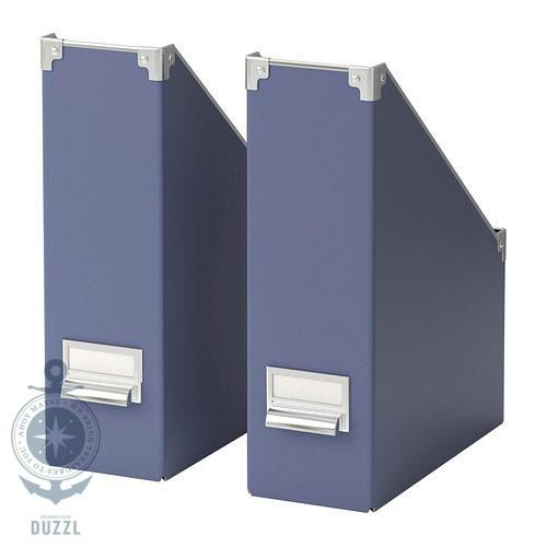 ikea kassett 2x blau zeitschriften aufbewahrung zeitschriftenhalter stehsammler ebay. Black Bedroom Furniture Sets. Home Design Ideas
