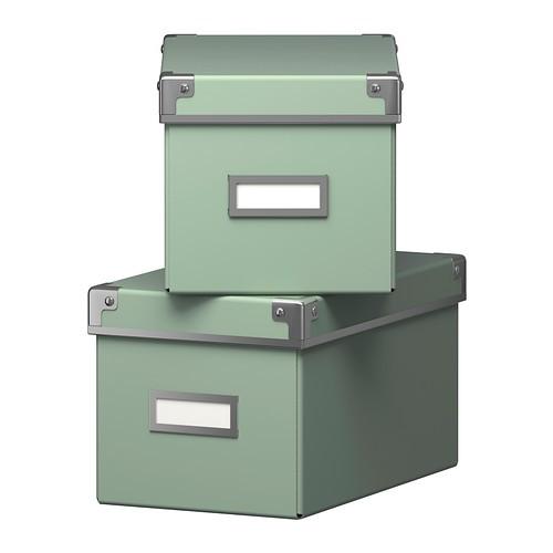 ikea kassett boxen mit deckel in gr n 2 st ck 16x26x15cm aufbewahrung schachteln ebay. Black Bedroom Furniture Sets. Home Design Ideas