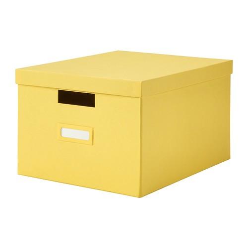 ikea tjena kasten mit deckel in gelb 27x35x20cm. Black Bedroom Furniture Sets. Home Design Ideas