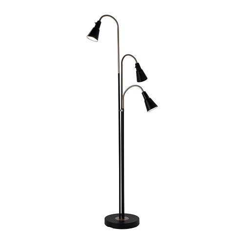 ikea kvart standleuchte mit 3er spot schwarz stehleuchte stehlampe beleuchtung ebay. Black Bedroom Furniture Sets. Home Design Ideas
